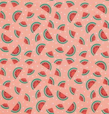 Tecido Tricoline com Fatias de Melancia - Fundo Rosa Salmão - Preço de 50 cm X 150 cm