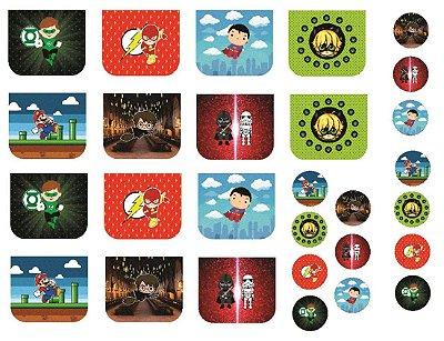 Tecido Necessaire e Chaveiros Personagens 3: Lanterna Verde, Flash, Super Man, Cat Noir, Mario Bros, Harry Potter e Star Wars - 100% poliéster - Preço de 70cm x 50cm