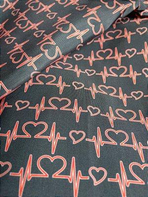 Tecido Estampa Exclusiva de Profissões - Medicina Batimentos Cardíacos - 100% poliéster - Preço de 80cm x 60cm