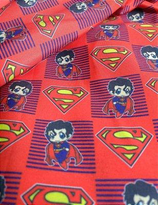 Tecido Estampa Exclusiva de Personagens - Super Man ou Super Homem - 100% poliéster - Preço de 80cm x 60cm