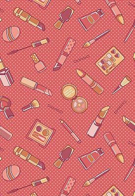 Tecido Tricoline Estampado Acessórios de Maquiagem - Fundo Goiaba - Preço de 50 cm x 150 cm