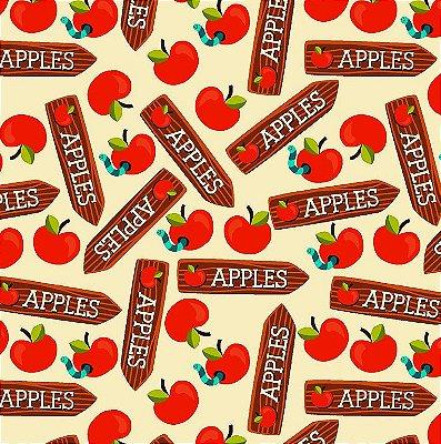Tecido Tricoline Placas Apples - Fundo Creme - Coleção Apple - Preço de 50 cm x 150 cm