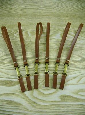 Alça para Necessaire Caramelo com Mosquetão - 17 cm
