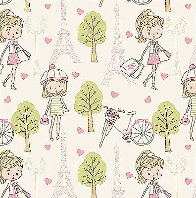 Tecido Tricoline Compras em Paris Rosa - Fundo Creme - Coleção Paris - Preço de 50 cm x 140 cm