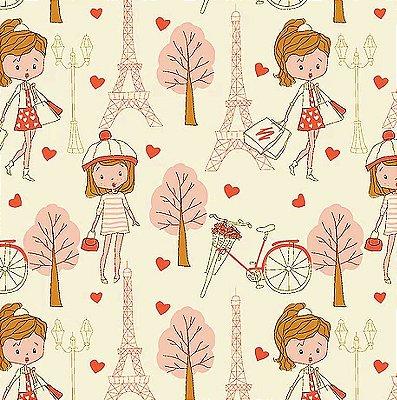 Tecido Tricoline Compras em Paris Coral - Fundo Creme - Coleção Paris - Preço de 50 cm x 140 cm