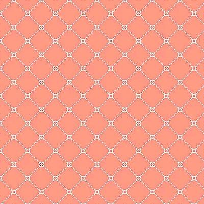 Tecido Tricoline Básico Paris - Fundo Coral - Coleção Paris - Preço de 50 cm x 140 cm