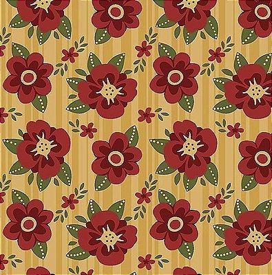 Tecido Tricoline Floral Utah - Fundo Caramelo - Coleção Utah - Preço de 50 cm x 140 cm
