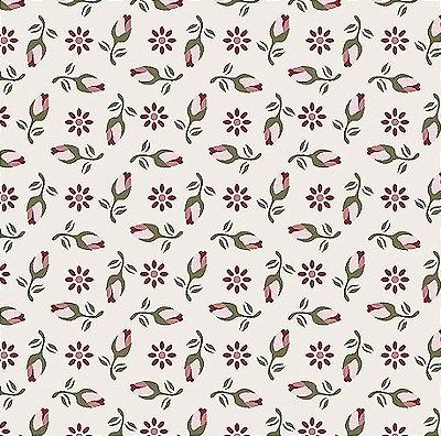 Tecido Tricoline de Mini Rosas - Fundo Bege - Coleção Dona Florinda - Preço de 50 cm x 140 cm