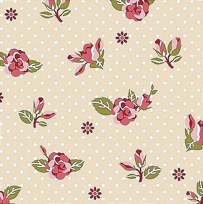 Tecido Tricoline de Rosas - Fundo Bege - Coleção Dona Florinda - Preço de 50 cm x 140 cm