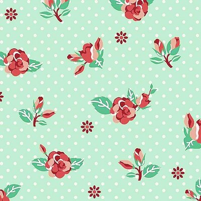 Tecido Tricoline de Rosas - Fundo Tiffany - Coleção Dona Florinda - Preço de 50 cm x 140 cm