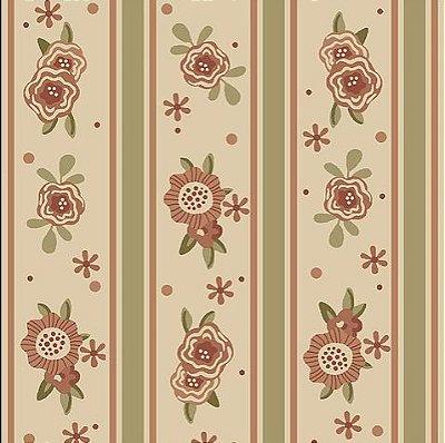Tecido Tricoline de Listras Floral Goiaba - Coleção Florisbella - Preço de 50 cm x 140 cm