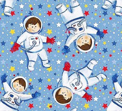 Tecido Digital Mini Astronautas - Fundo Azul - Coleção Astronautas - Preço de 50 cm x 140 cm