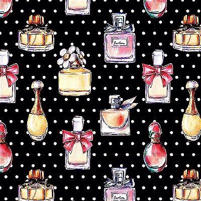 Tecido Digital Perfumes - Fundo Preto - Coleção Perfumes e Maquiagem - Preço de 50 cm x 140 cm