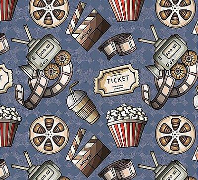 Tecido Digital Itens de Cinema - Fundo Azul - Coleção Cinema - Preço de 50 cm x 140 cm