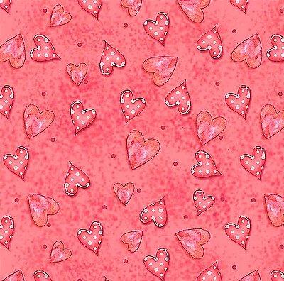 Tecido Digital Corações - Fundo Rosa Goiaba - Coleção Chaves e Cadeados - Preço de 50 cm x 140 cm