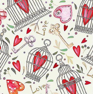 Tecido Digital Chaves, Gaiolas e Corações - Fundo Creme - Coleção Chaves e Cadeados - Preço de 50 cm x 140 cm