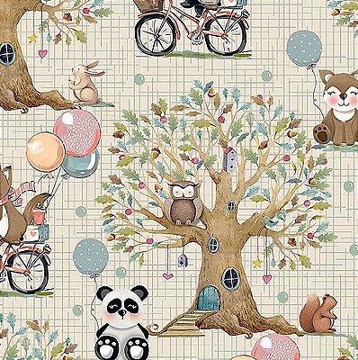 Tecido Digital Paisagem Floresta - Fundo Creme - Coleção Animais na Floresta - Preço de 50 cm x 140 cm