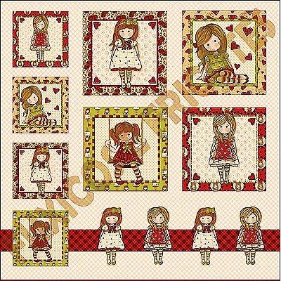 Tecido Digital Painel - Coleção Bonecas Gorjuss - Preço de 48 cm x 48 cm