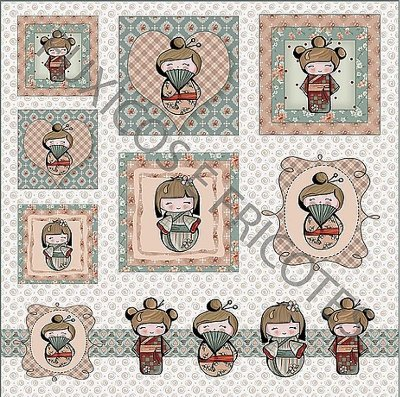 Tecido Digital Painel - Coleção Kokeshi - Preço de 48 cm x 48 cm