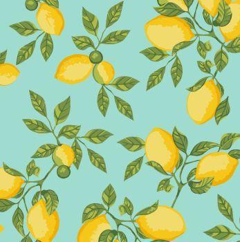 Tecido Tricoline - Coleção Limão Siciliano (Fundo Tiffany) - Preço de 50 cm x 150 cm