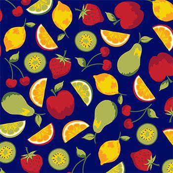 Tecido Tricoline Frutas - Fundo Azul Marinho - Coleção Salada de Fruta - Preço de 50 cm x 150 cm