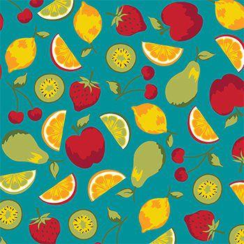 Tecido Tricoline Frutas - Fundo Tiffany - Coleção Salada de Fruta - Preço de 50 cm x 150 cm