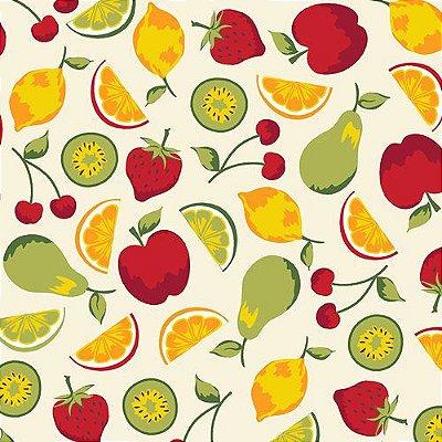 Tecido Tricoline Frutas - Fundo Creme - Coleção Salada de Fruta - Preço de 50 cm x 150 cm