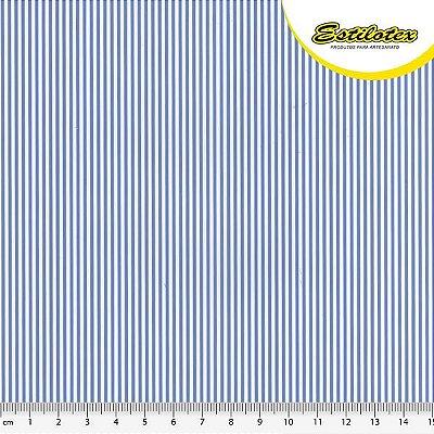 Tecido Tricoline com Listras Azul e Branco - Preço de 50 cm x 150 cm