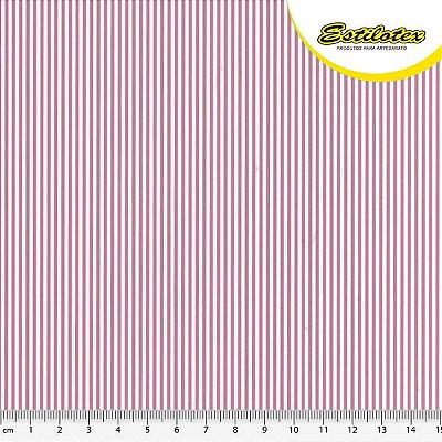 Tecido Tricoline com Listras Rosa e Branco - Preço de 50 cm x 150 cm