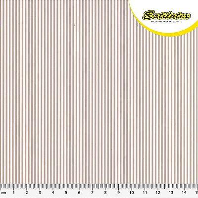 Tecido Tricoline com Listras Bege e Branco - Preço de 50 cm x 150 cm