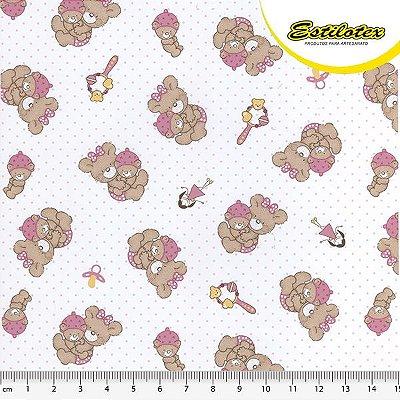 Tecido Tricoline Ursa Rosa - Preço de 50 cm x 150 cm