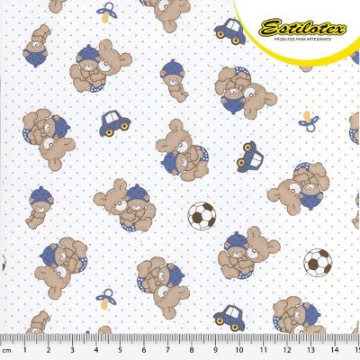 Tecido Tricoline Urso Azul - Preço de 50 cm x 150 cm