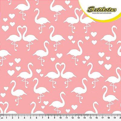 Tecido Tricoline de Mini Flamingo - Fundo Rosa - Preço de 50 cm X 150 cm