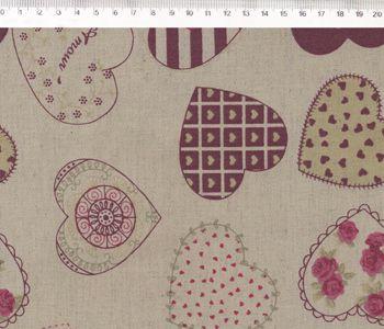 Tecido de Linho para Patchwork Coração - Coeurs Bordô - Coleção Le Petit Atelier - Preço de 50 cm X 140 cm