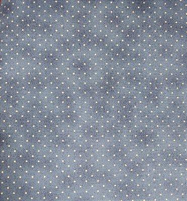 Tecido Tricoline Poeirinha e Poá Bege - Fundo Azul - Preço de 50 cm X 150 cm