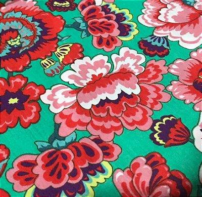 Tecido Tricoline Floral - Fundo Verde - Coleção Modern Oriental - Preço de 50 cm X 150 cm