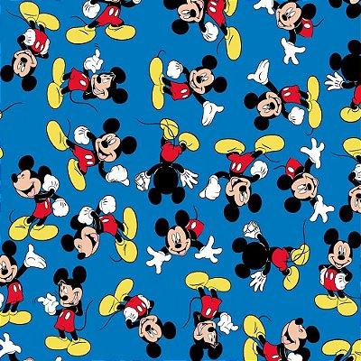 Tecido Tricoline do Mickey - Fundo Azul - Coleção Disney - Preço de 50 cm x 150 cm