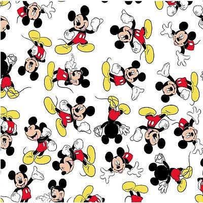 Tecido Tricoline do Mickey - Fundo Branco - Coleção Disney - Preço de 50 cm x 150 cm