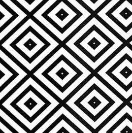 Tecido Tricoline Inner Square - Preto e Branco - Coleção Monochrome - Preço de 50 cm X 150 cm