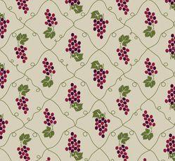 Tecido Tricoline Cacho de Uvas - Fundo Bege - Coleção Fruits - Preço de 50 cm x 150 cm