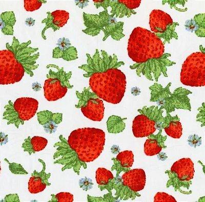 Tecido Tricoline Morangos - Fundo Off White - Coleção Fresh Fruits - Preço de 50 cm x 150 cm