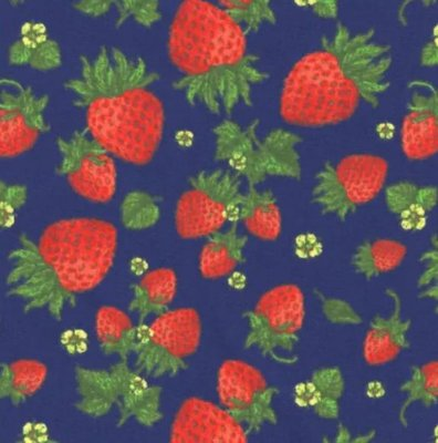 Tecido Tricoline Morangos - Fundo Marinho - Coleção Fresh Fruits - Preço de 50 cm x 150 cm