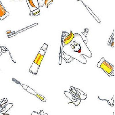 Tecido Tricoline Dentes e Higiene Bucal - Fundo Branco - Coleção Doctor - Preço de 50 cm x 150 cm