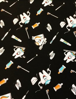 Tecido Tricoline Dentes e Higiene Bucal - Fundo Preto - Coleção Doctor - Preço de 50 cm x 150 cm