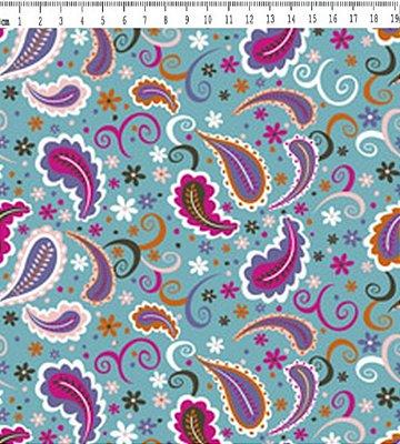 Tecido Tricoline Cashmere - Fundo Azul - Coleção Afonso Franco - Preço de 50 cm X 150 cm