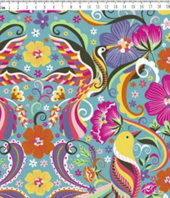 Tecido Tricoline Pássaros com Flores - Fundo Azul - Coleção Afonso Franco - Preço de 50 cm X 150 cm