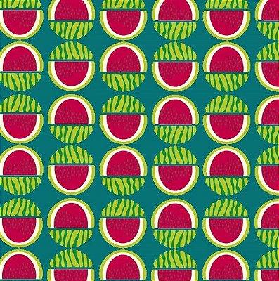 Tecido Tricoline Melancia - Fundo Verde - Coleção Tropical Fruits - Preço de 50 cm X 150 cm