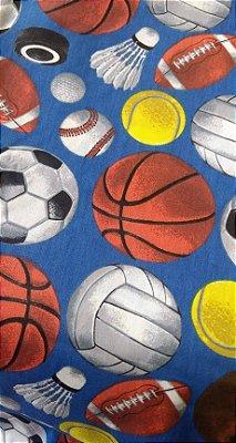 Tecido Tricoline Bolas de Jogos: Futebol, Boliche, Baisebol, Tênis, Futebol, Futebol Americano, Vôlei e Basquete - Fundo Azul - Preço de 50 cm x 150 cm
