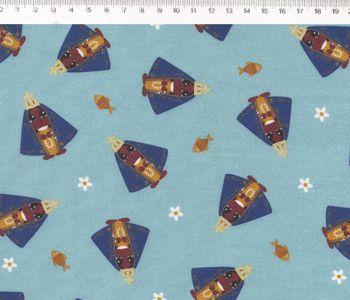 Tecido Tricoline Nossa Senhora Aparecida - Fundo Azul - Preço de 50 cm x 150 cm