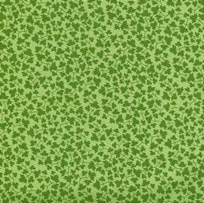 Tecido Tricoline Folhas - Fundo Verde - Coleção Portas - Preço de 50cm x 150cm